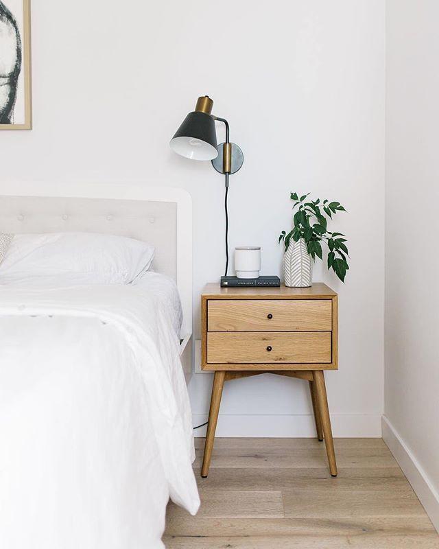 Minimalist Bedroom White Bedroom Midcentury Modern Nightstand Light Was Hardwood Floors Bedroom Night Stands Home Decor Bedroom Bedroom Interior