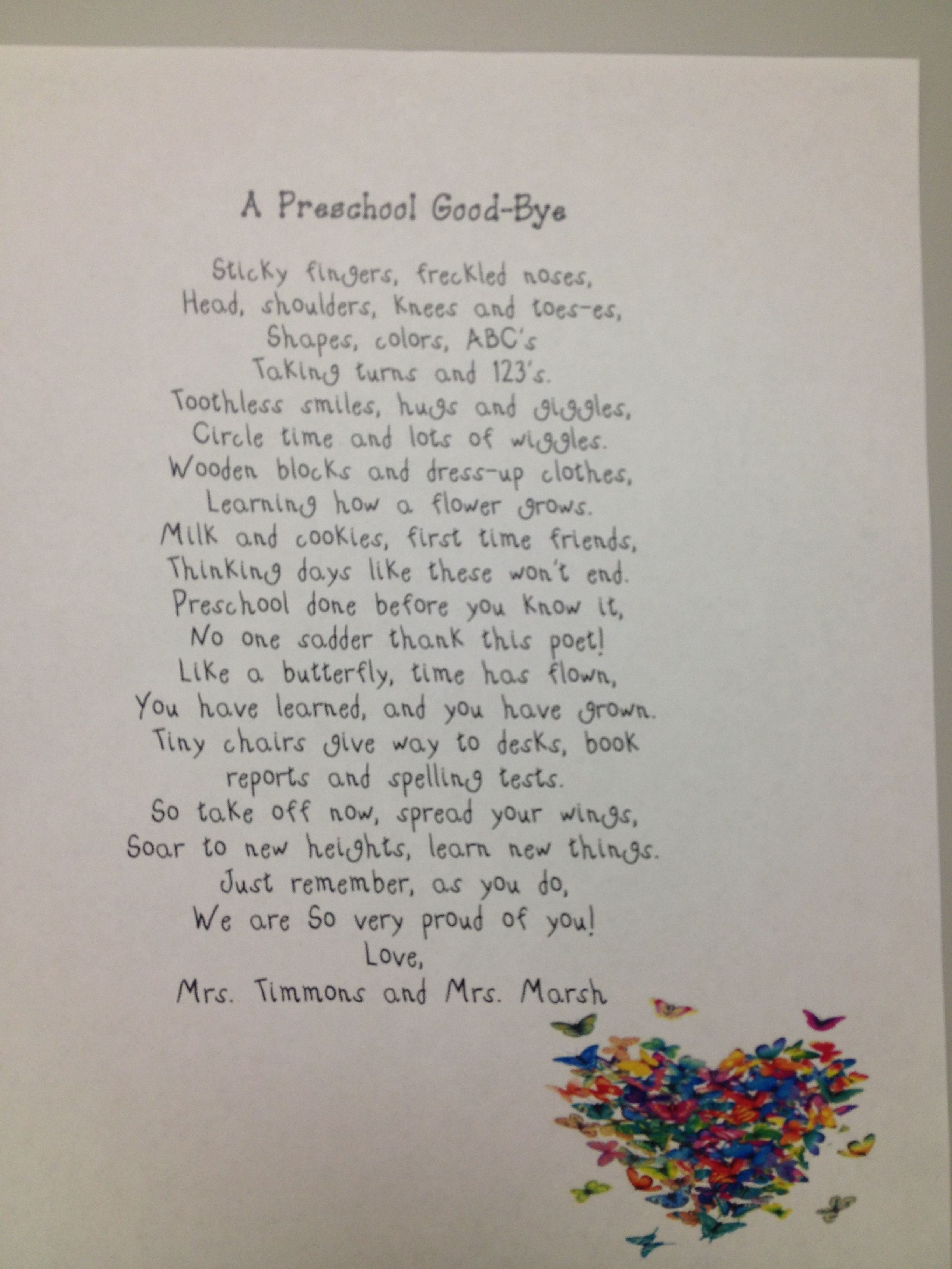 End Of Year Poem For My Prek