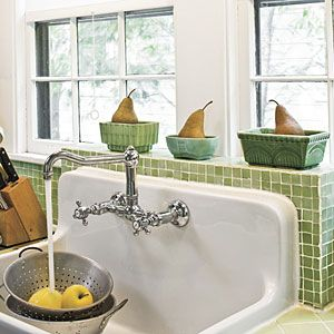 farm house sink i like the green tile to accent. Interior Design Ideas. Home Design Ideas