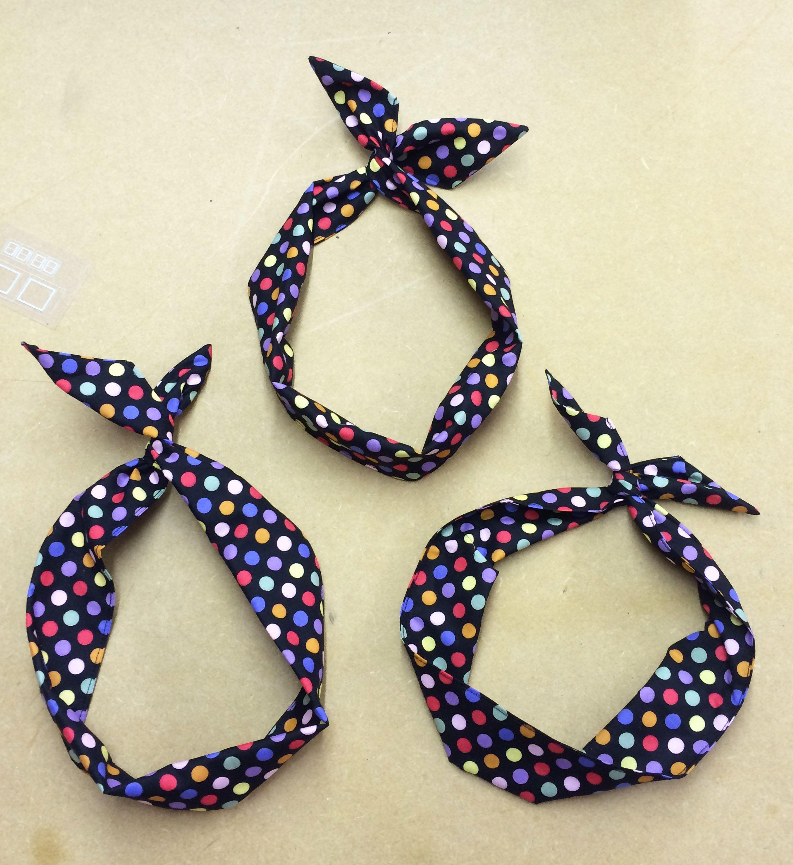 www.dreambows.co.uk Polka dot fabric bendy wire headband for girls ...