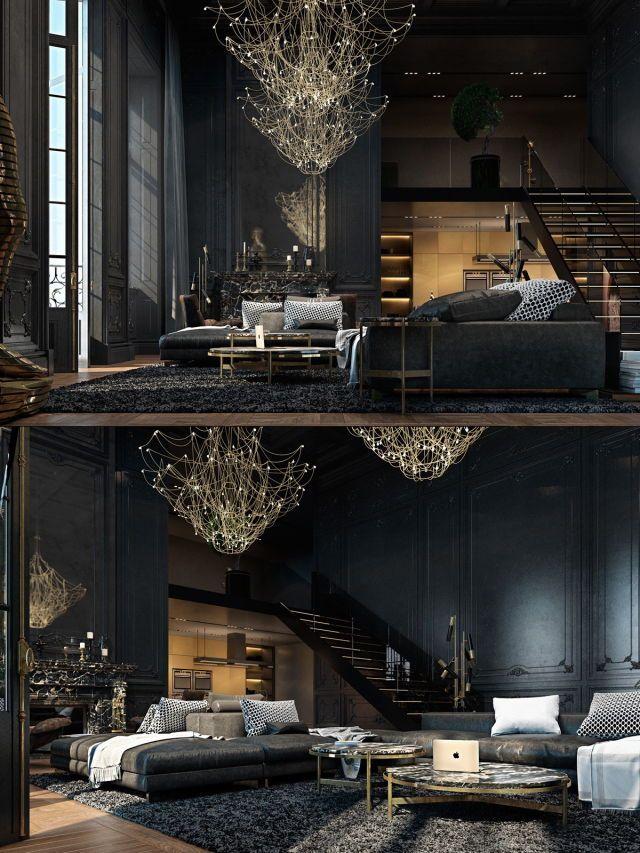 Wohnzimmer, Einrichtung, Buecher, Dekoration, Gotisches Haus, Viktorianische  Gothik, Gotisches Zimmer, Dunkle Räume, Schwarze Wohnzimmer