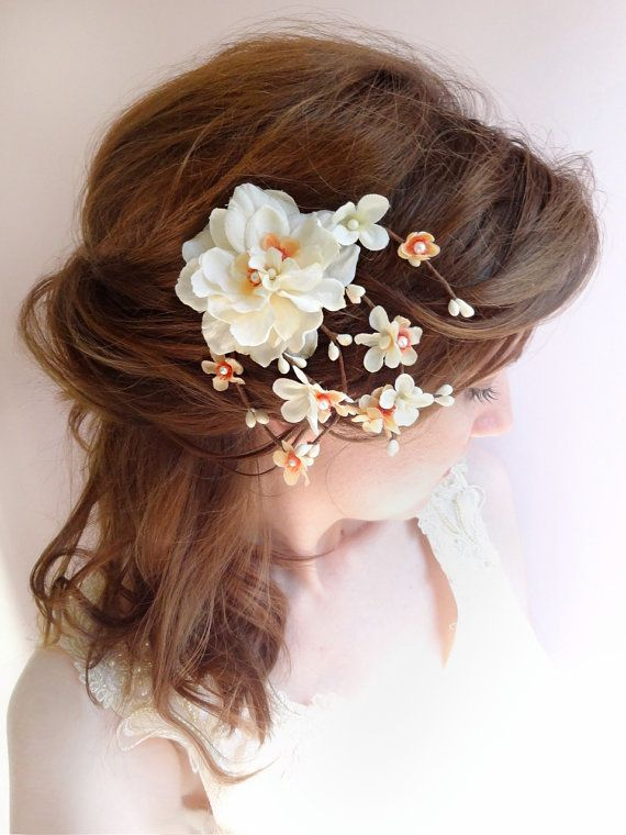 wedding hair comb peach bridal headpiece orange hair flower peach flower fall