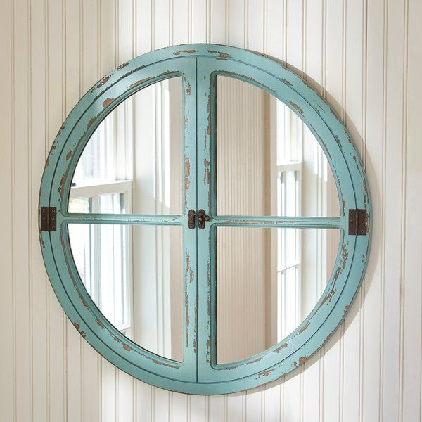 Round Window Sea Wall Mirror Influenced By Rustic Window Design Has Decorative Hinges And Latch Features That Offer Round Window Mirror Wall Framed Mirror Wall