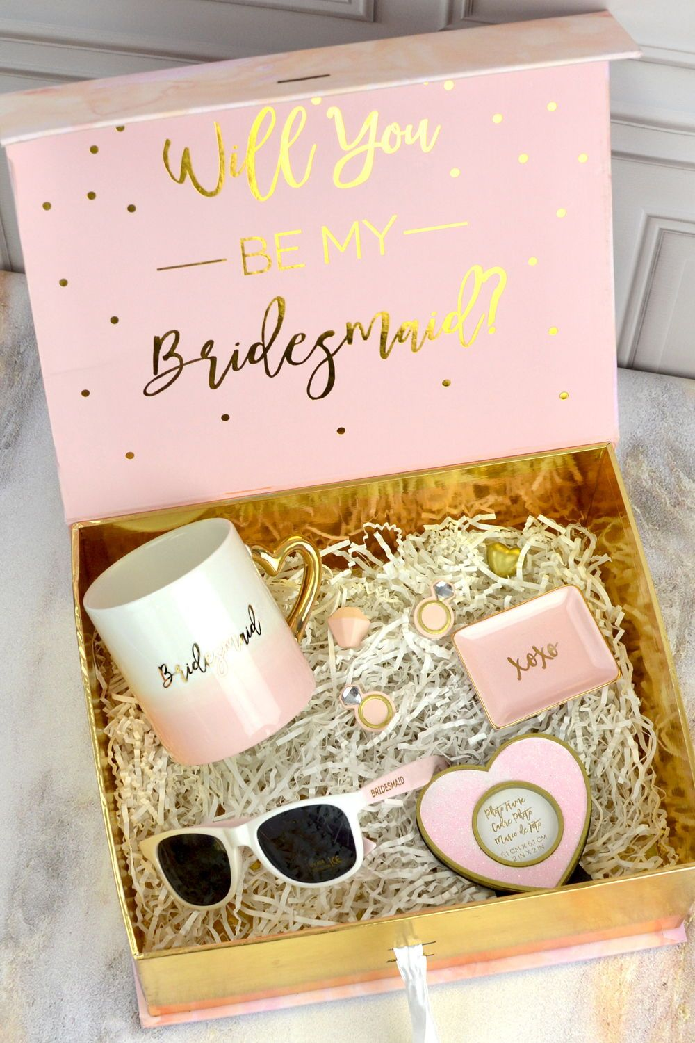 Will You Be My Bridesmaid Wedding Kit Gold pink gold will you be my bridesmaid gift box kit