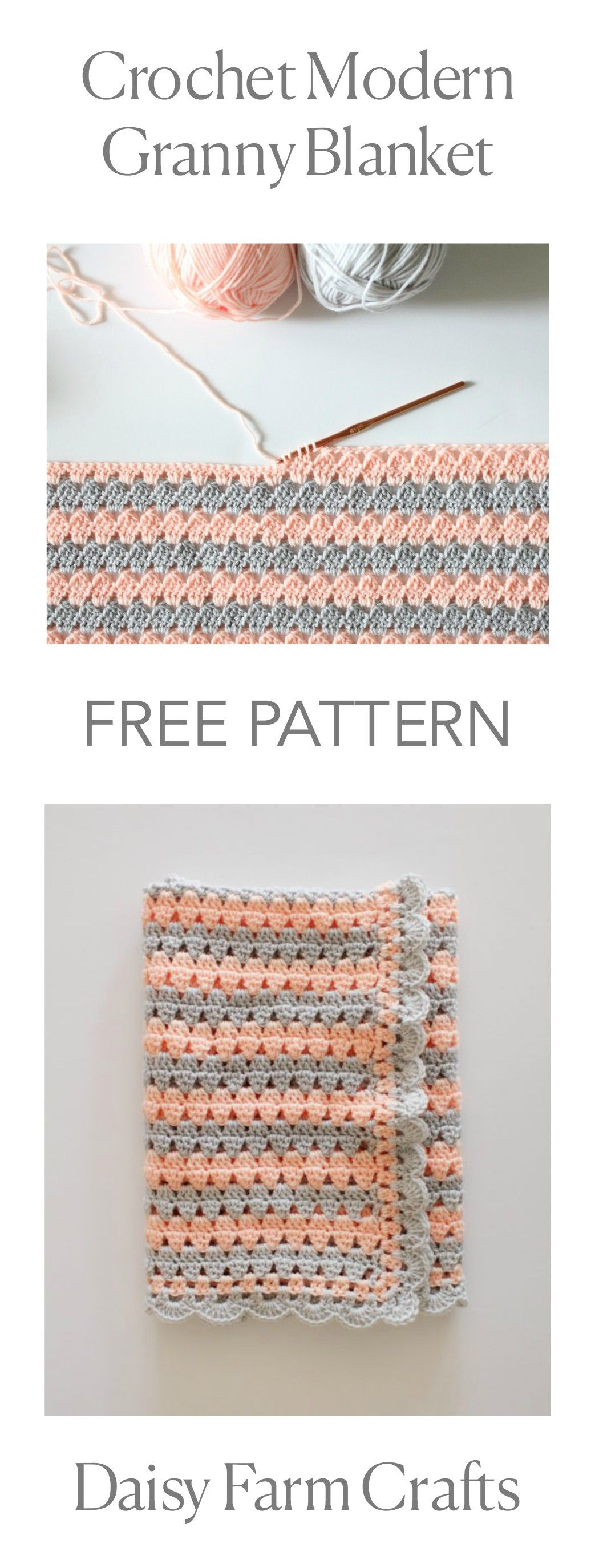 FREE PATTERN - Crochet Modern Granny Blanket | Crochet stitches ...