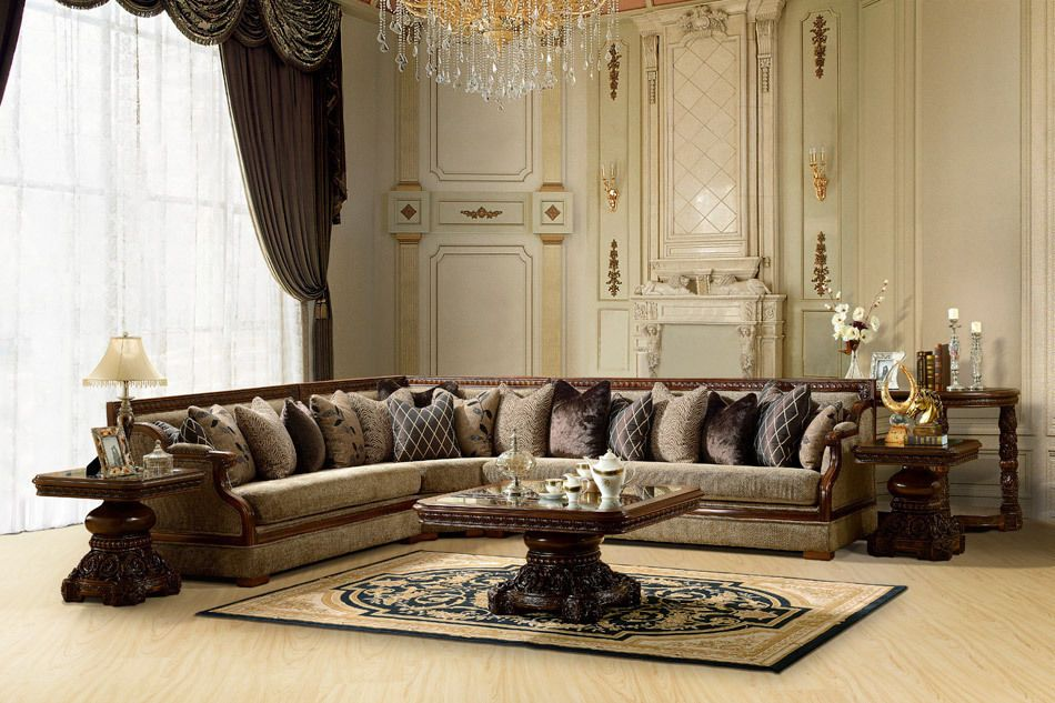 Decorations, : L Shaped Traditional Sofa Set With Straight Frames And Fully  Cushion Also Rich Of Carved Coffee Table And Sofa End Table Also Brown  Curtain ...