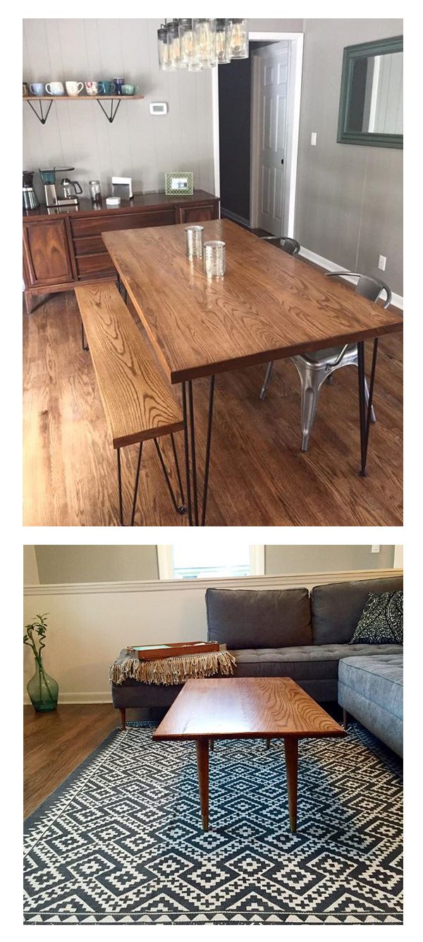 Mid Century Modern Dining Table Made In White Oak With Trapezoid