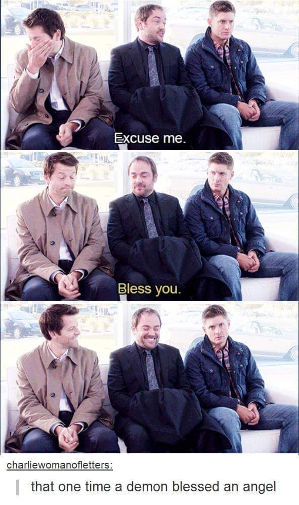 (Dean's face in the last ) lol