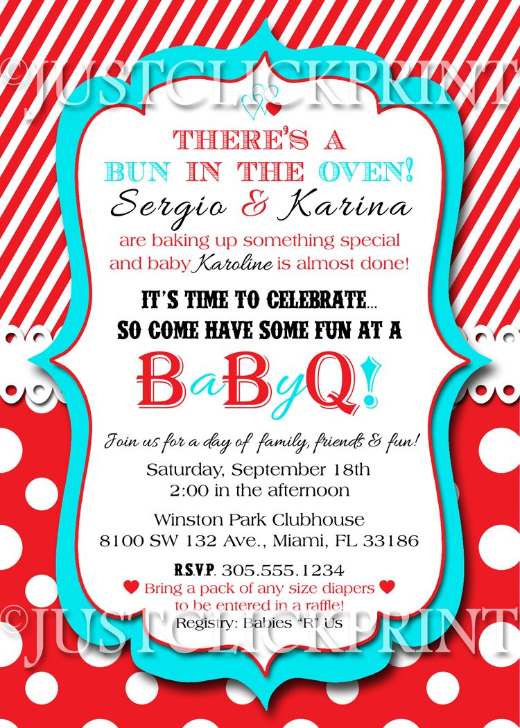 Bun in the Oven Baby Shower BBQ Invitation Printable from Just Click ...
