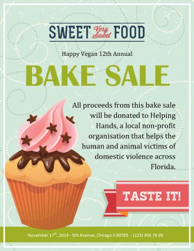 Vegan Annual Bake Sale Fundraiser flyer Bake sale flyer, Sale