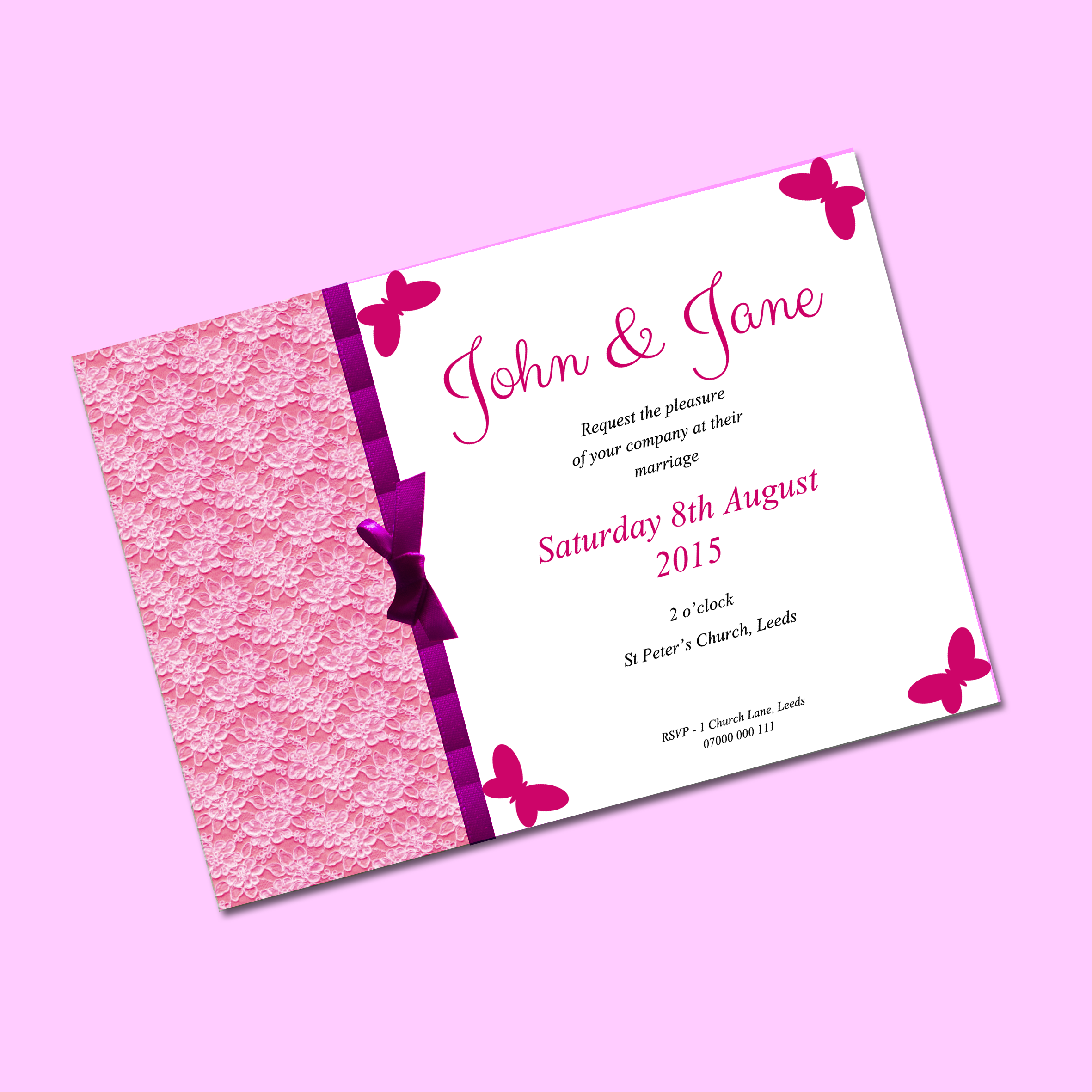 Bold Pink Butterfly Lace A5 Wedding Invitation | Wedding ...