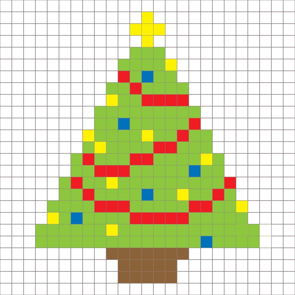Crochet Christmas Tree Pixel Square - Repeat Crafter Me | Graphs ...