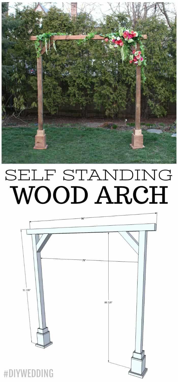 DIY Self Standing Wood Arch Wood arch, Wood wedding