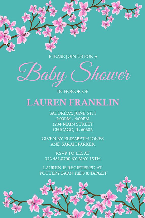 Cherry Blossom Baby Shower Invitation, Girl Baby Shower Invitation ...
