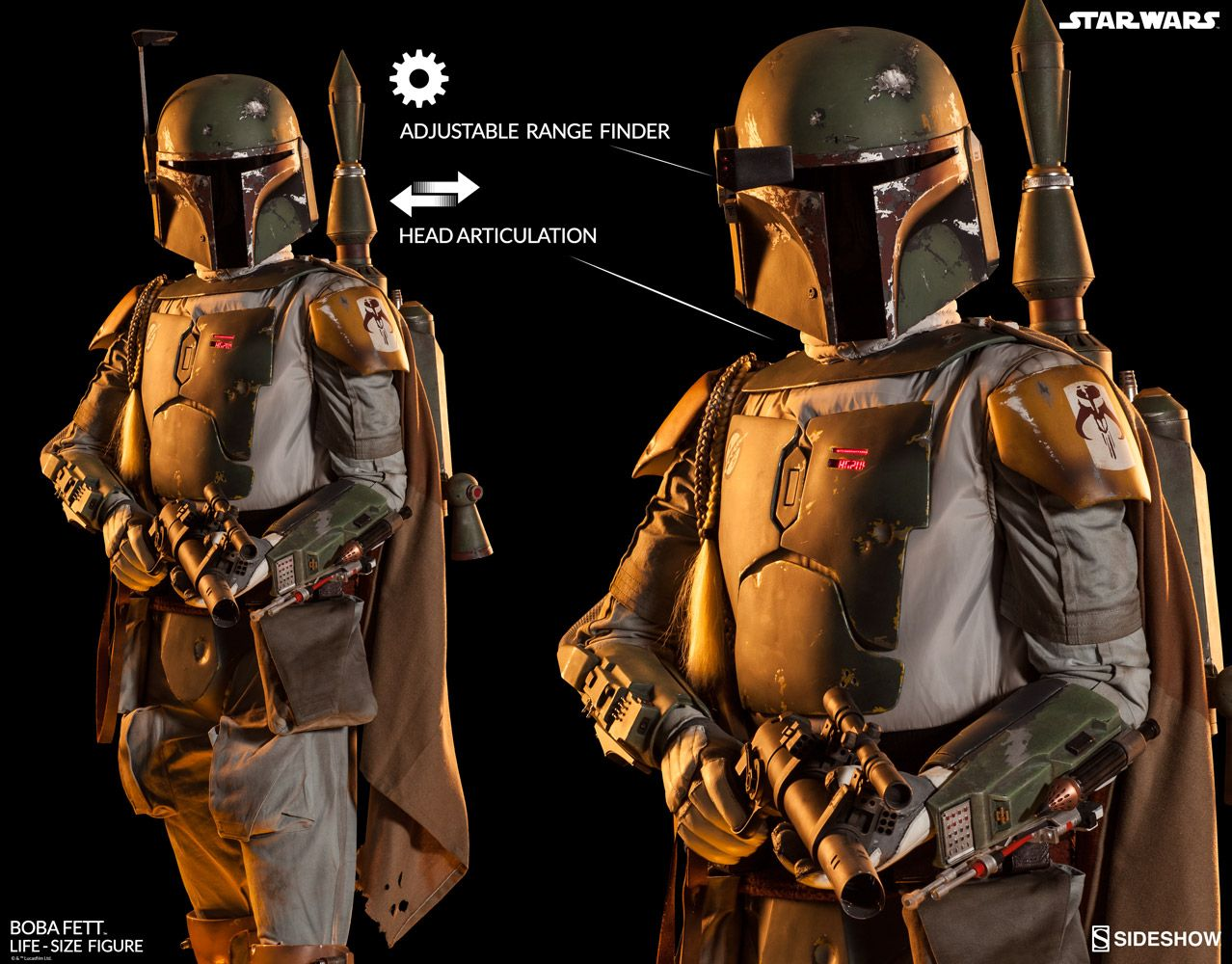 The Boba Fett Life-Size Figure replica is available at Sideshow,com for fans of Star Wars Return of the Jedi.