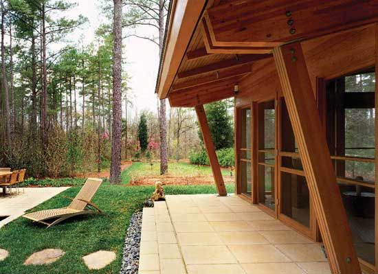 Charlotte, North Carolina, reclaimed wood home: Since the North Carolina climate allows residents to spend time outdoors nearly year-round, the house is designed to provide easy exterior access.