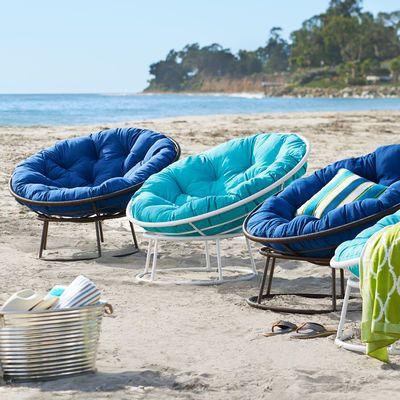 Outdoor White Papasan Chair P Casa De Praia Moveis