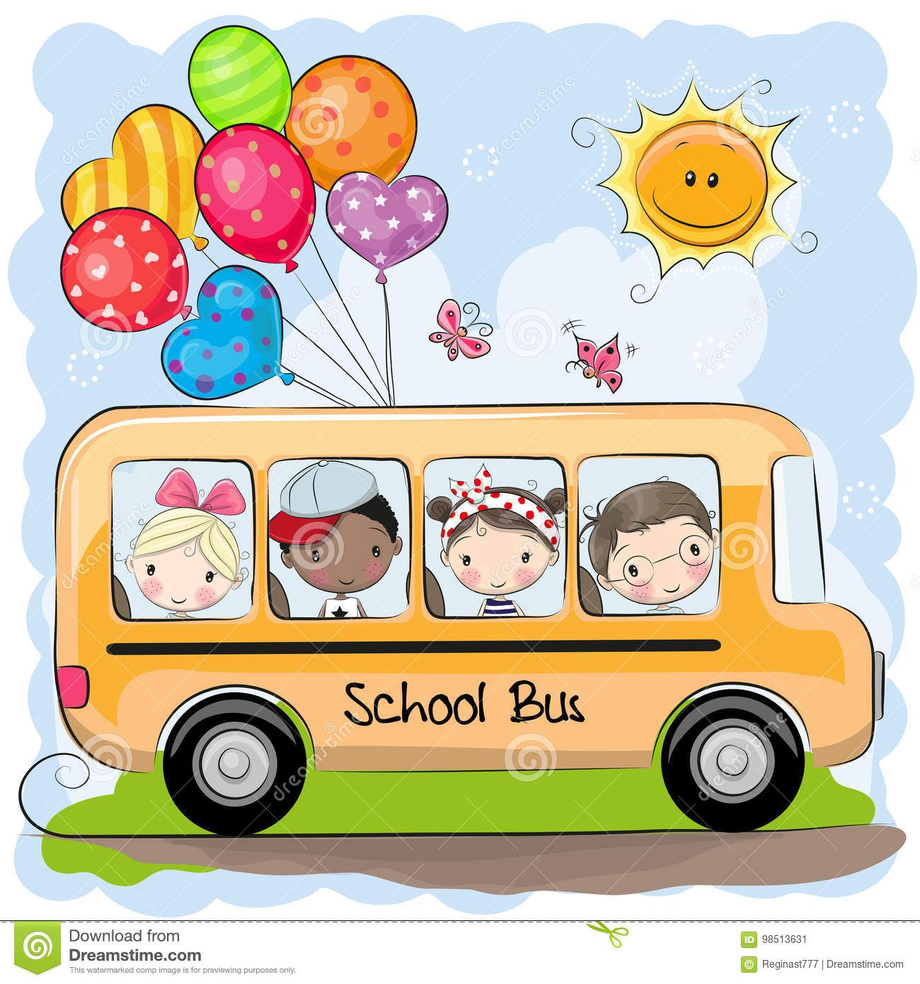 Illustration About School Bus And Four Cute Cartoon Kids