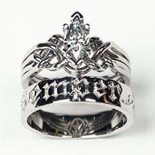 celtic puzzle wedding rings for her platinum marquise diamond our love is forever puzzle poesy