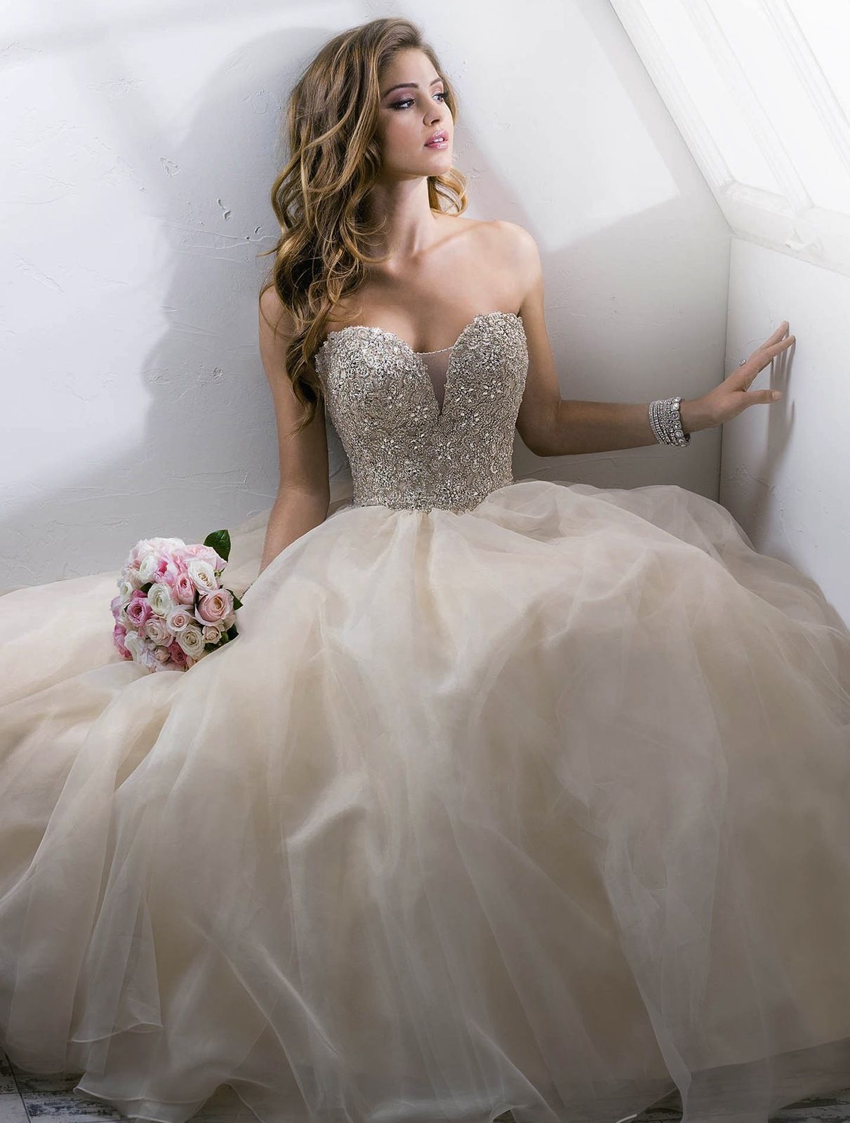 Princess celia elegant strapless embellished corset ball for Princess corset wedding dresses