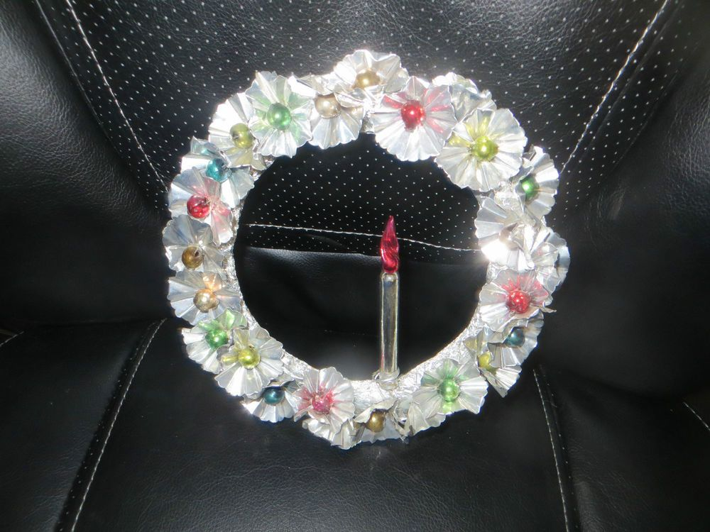 Foil Metal Christmas Wreath with Mercury Glass