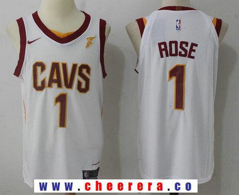 1d9fe65a144 Men s Cleveland Cavaliers  1 Derrick Rose White 2017-2018 Nike Swingman  Goodyear Stitched NBA Jersey