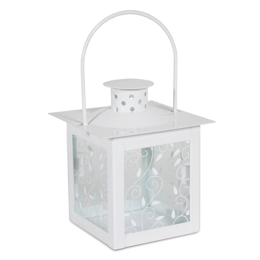 "This mini lantern is perfect for hanging on a small hook or twine. 7"" high to top of handle. Vine and Leaf pattern on glass panels. Lid comes off top to place either a votive candle or tea light. The inside dimensions of the lantern are..."