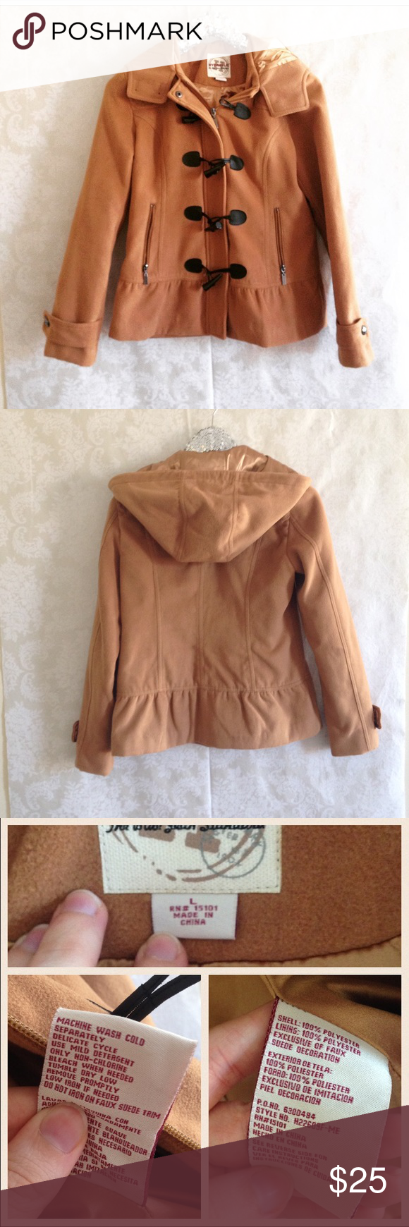 """Peplum Coat Cigar or Cognac Colored Peplum Coat. So cute and warm. Hood. Hidden Zip with toggle closure.  🛍Before you buy, I want you to know:  * CONDITION:EUC. Minimal wear.  * MEASUREMENTS: (all are approximate.) Arm Length: 24"""" Pit to Pit: 19"""" Length:25"""" 💖 Please ask any questions. I want you to love it!  💰15% off 2+ bundles ♥️ Pet & Smoke Free Home  📬 Usually ships in 1 business day 1016AHI306 Hydraulic Jackets & Coats Pea Coats"""