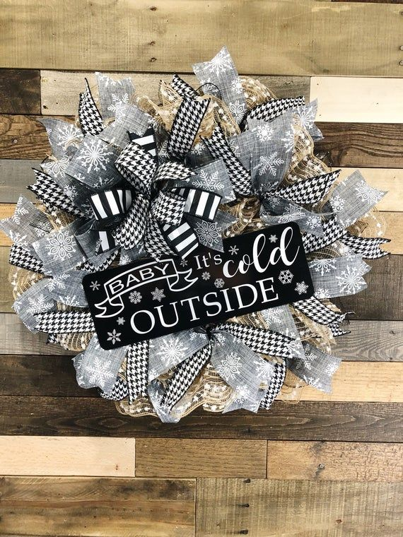 Photo of Baby it's cold outside, Winter wreath, everyday winter wreath, black and white everyday wreath, wint