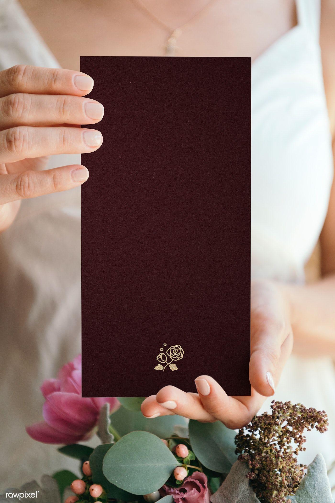 Download Premium Psd Of Bride Holding A Blank Black Banner Mockup 1209961 Black Banner Floral Cards Design Wedding Logo Design