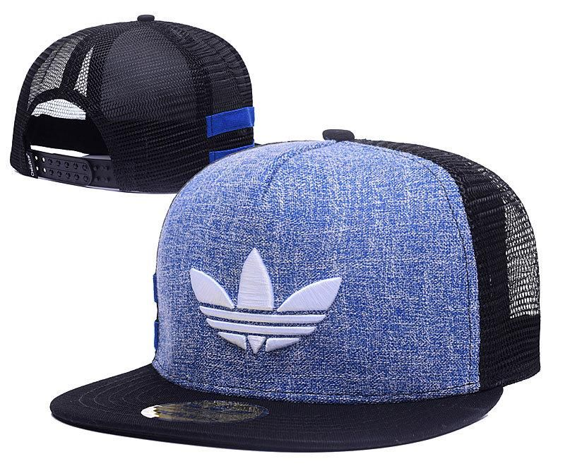 Men's Adidas Original 3D Logo Embroidery Trucker Snapback Hat - Blue / Black