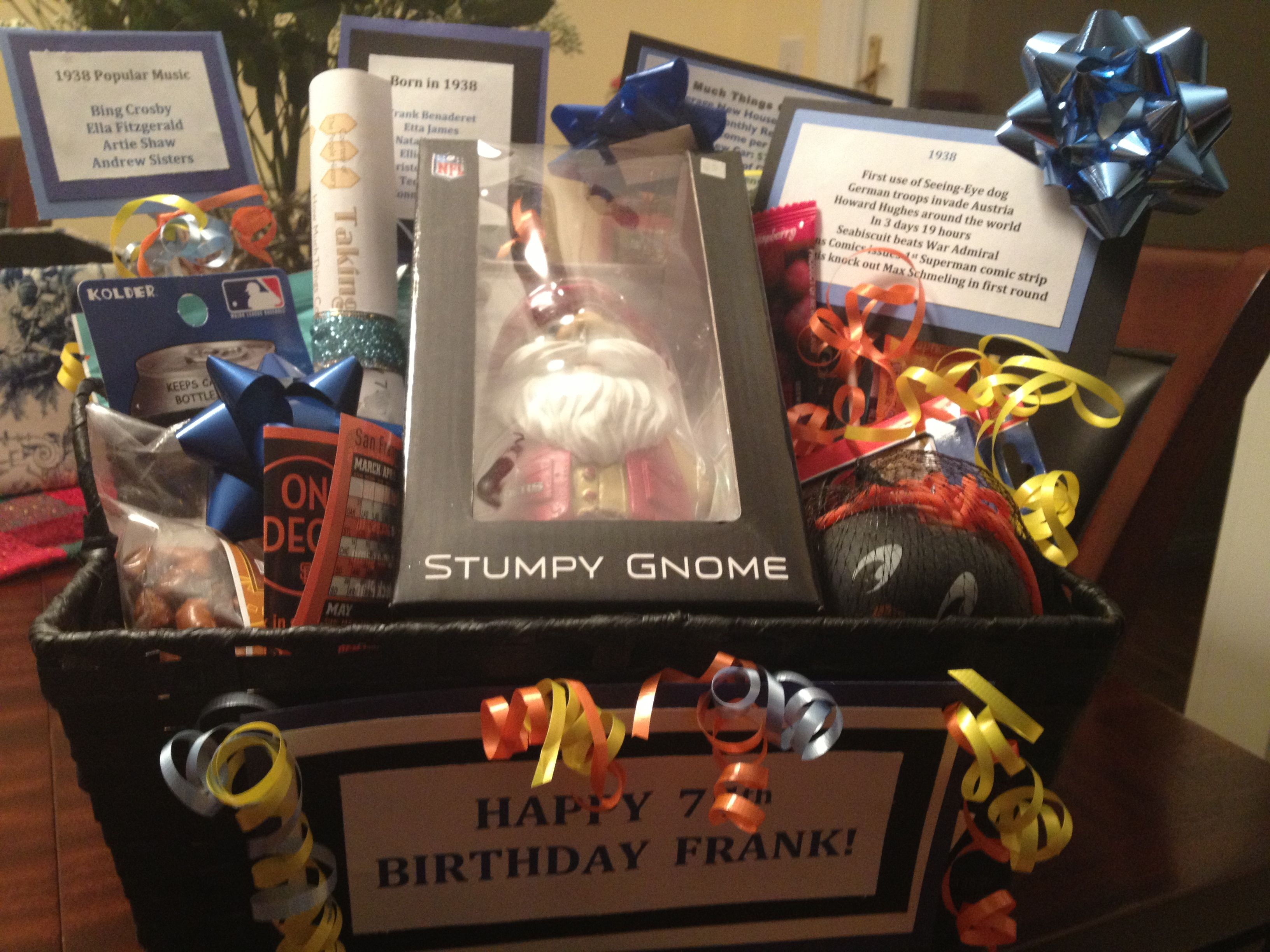 Gift Basket I Made For Male 75th Birthday Put In Items From Favorite