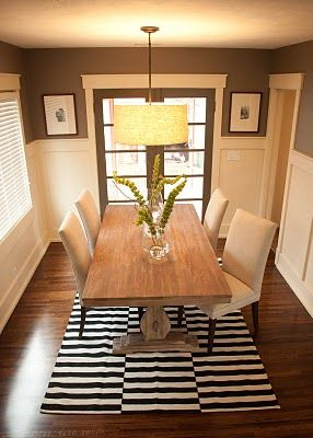 Black And White Rug Dining Room Craftsman Molding Dark