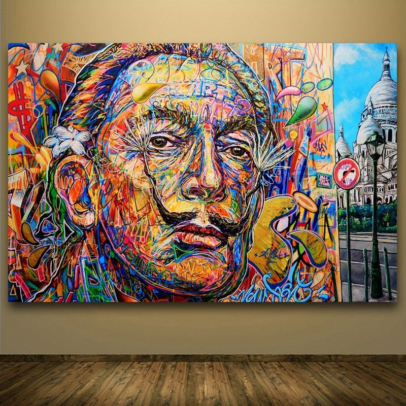 goedkope salvador dali abstract portret olieverf street art spray