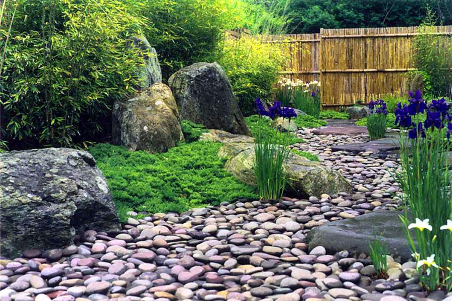 Dry river bed garden projects pinterest landscaping for Landscaping rocks merced ca