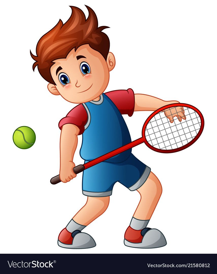 Cartoon Boy Playing Tennis Vector Image On Vectorstock Cartoon Boy Cartoon Boys Playing