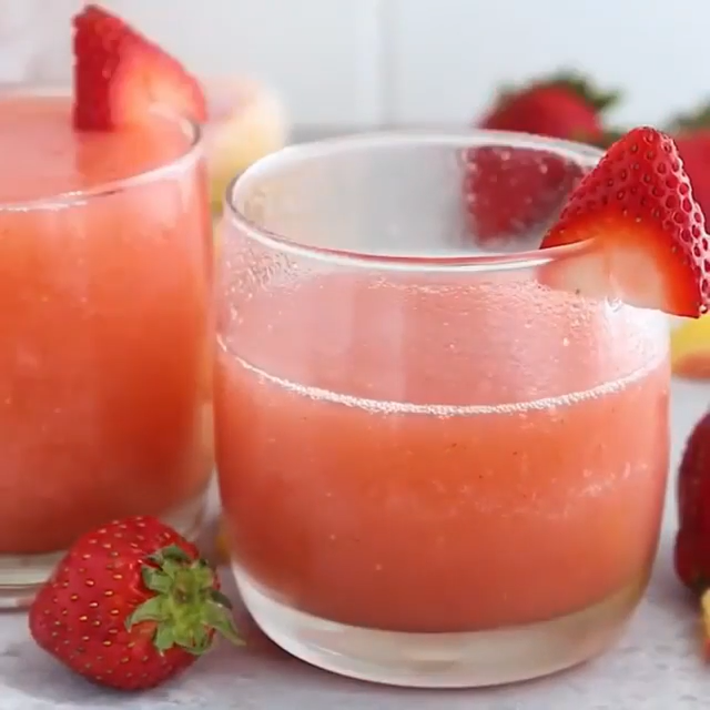 Strawberry Peach and Rum Cocktail