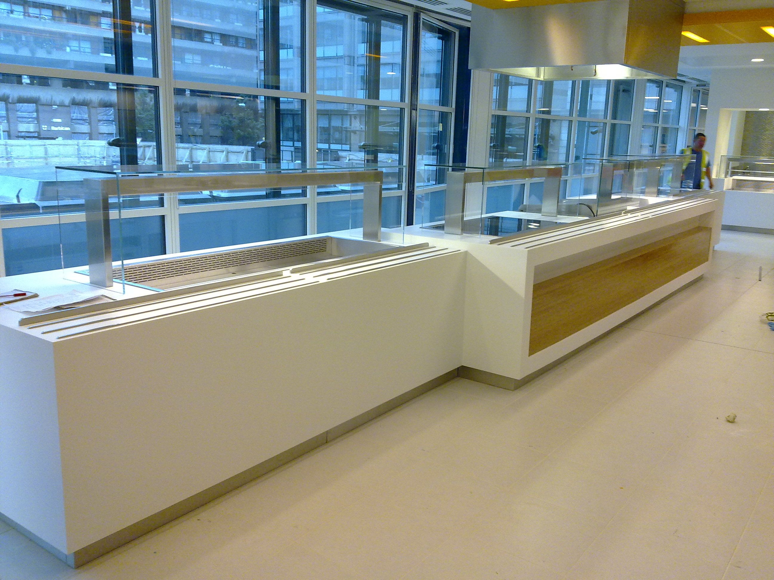 Large Servery in Corian and Bamboo Laminate for large Solicitors ...