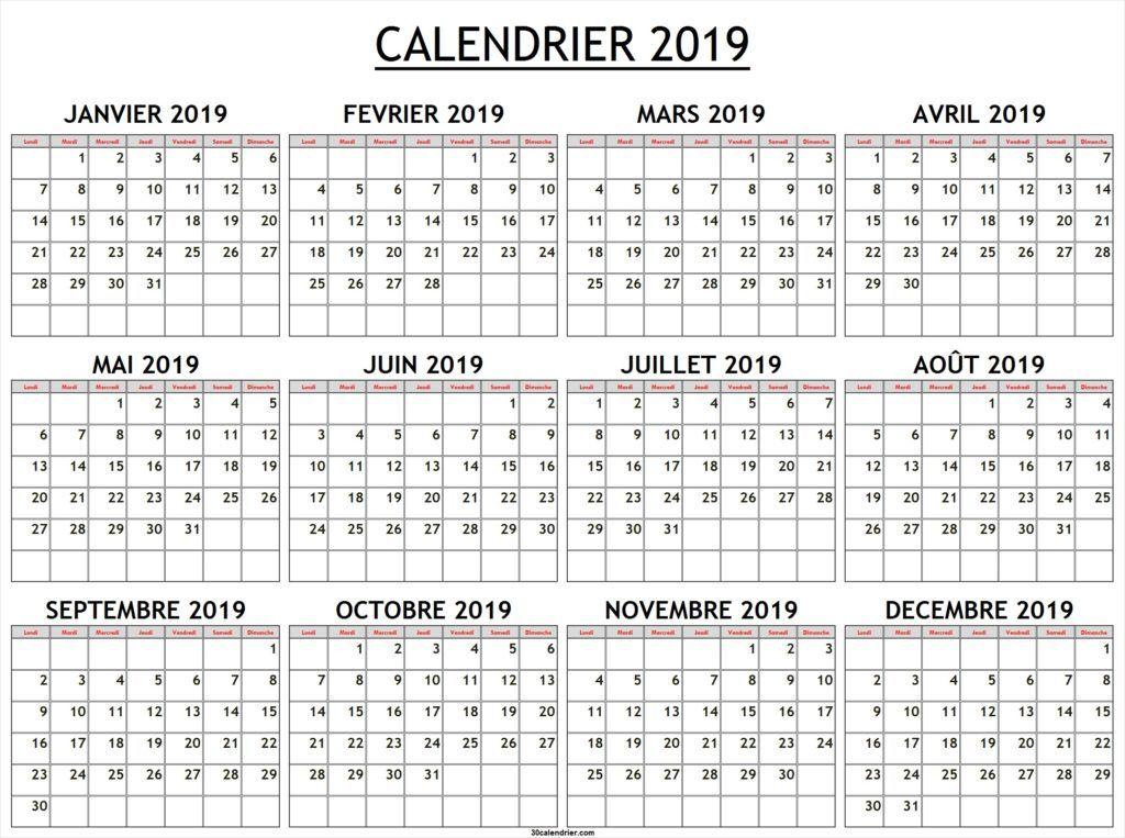 Calendrier Avec Numero Semaine.Calendrier 2019 Avec Numero De Semaine Calendrier