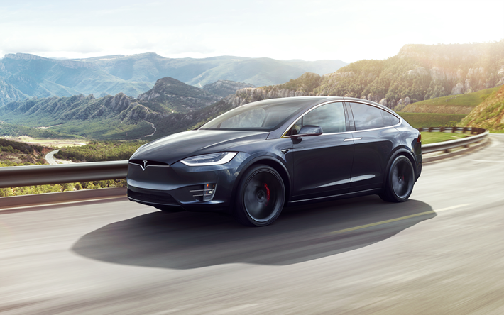 Download wallpapers Tesla Model X, 2017, 4k, electric