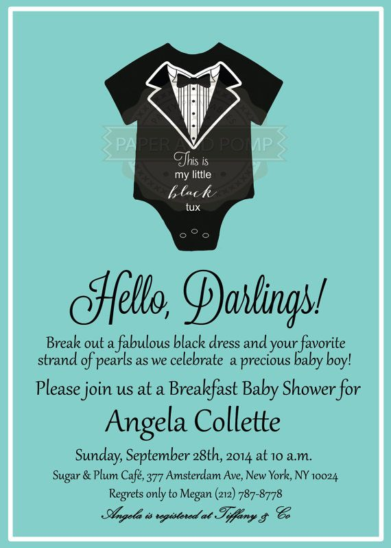Tiffany Inspired Breakfast At S Baby Shower Invitation Digital Printable Boy