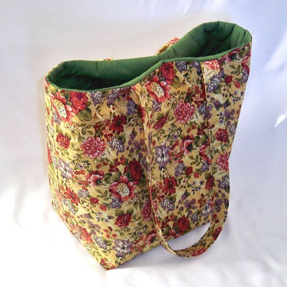 bff61f3adfeb Floral Tote Bag Cloth Purse Fabric Bag Handmade by ColleensDesigns ...