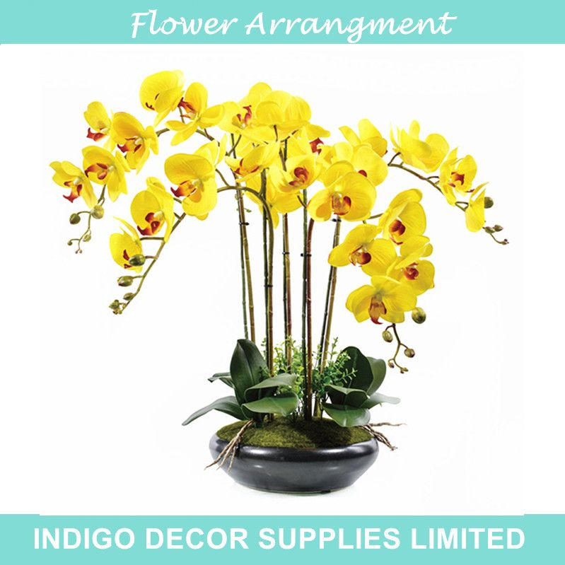 Real touch yellow flower bouquet flower arrangment orchids with real touch yellow flower bouquet flower arrangment orchids with leaves wedding party fake flower event flower mightylinksfo Gallery