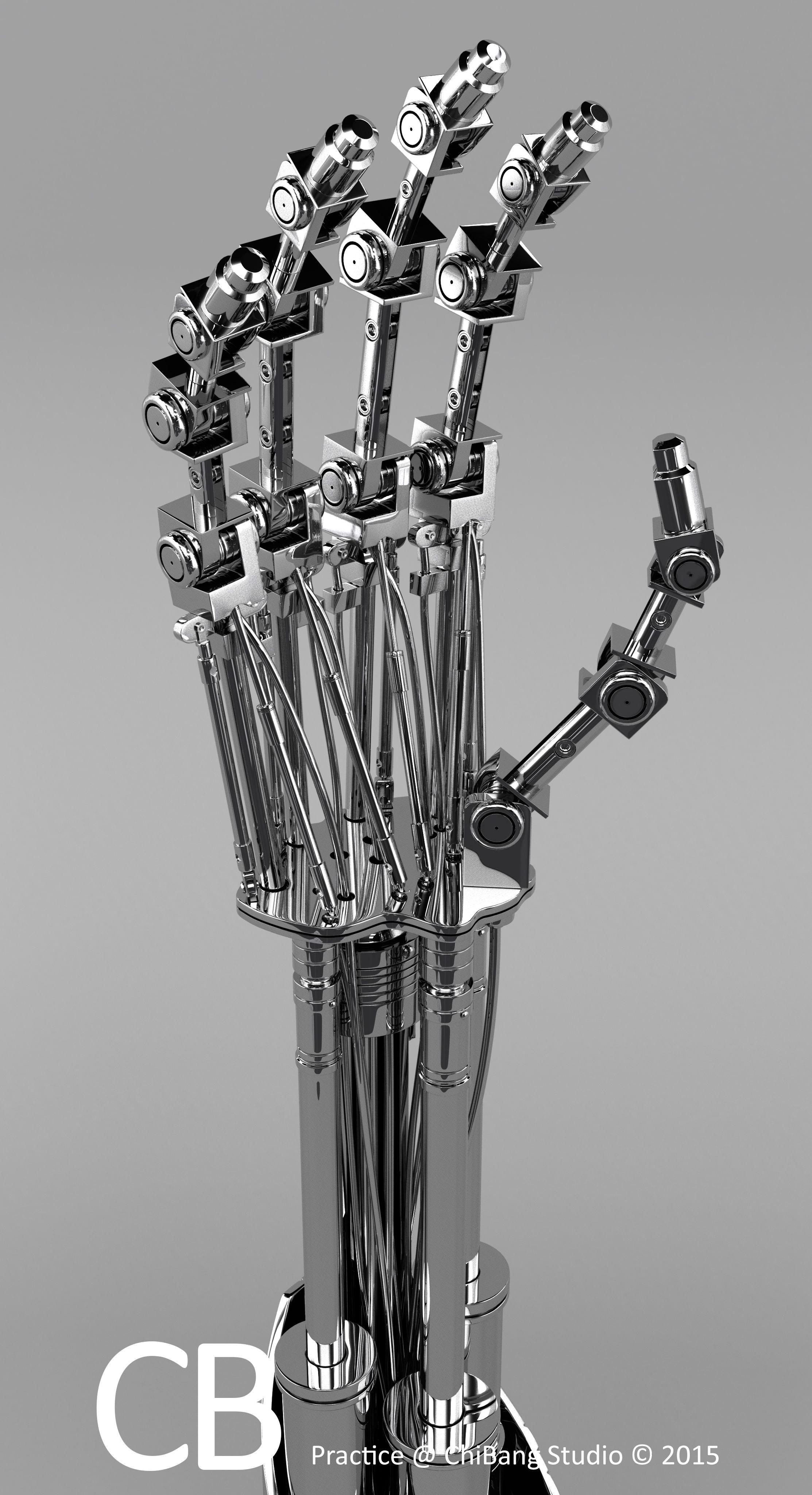 Robotic Terminator Arm T-800 Maya 3D model - Textured