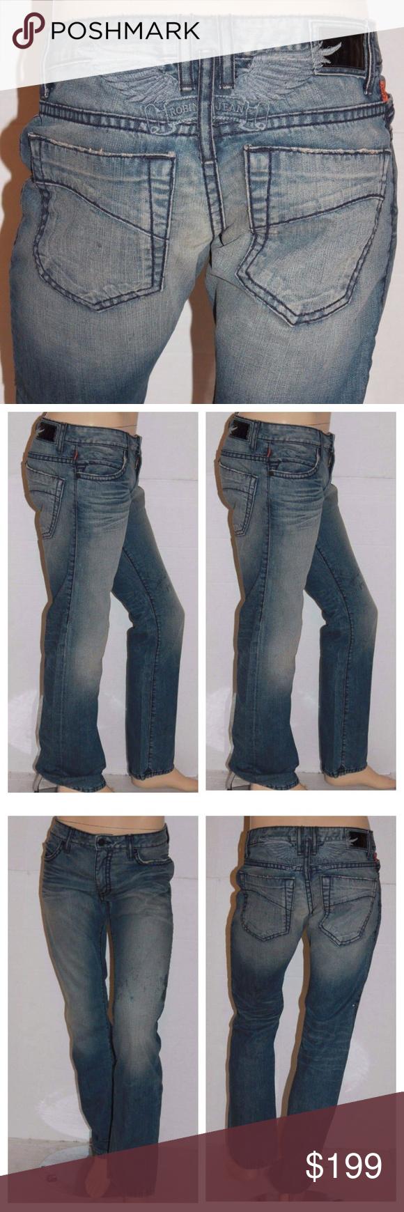 MARLON Straight Leg Jeans GREEN New Men/'s ROBIN/'S JEAN