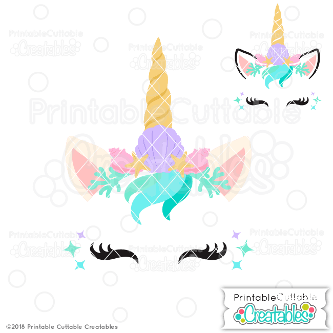 Mermaid Unicorn Face Free SVG File for Silhouette, for