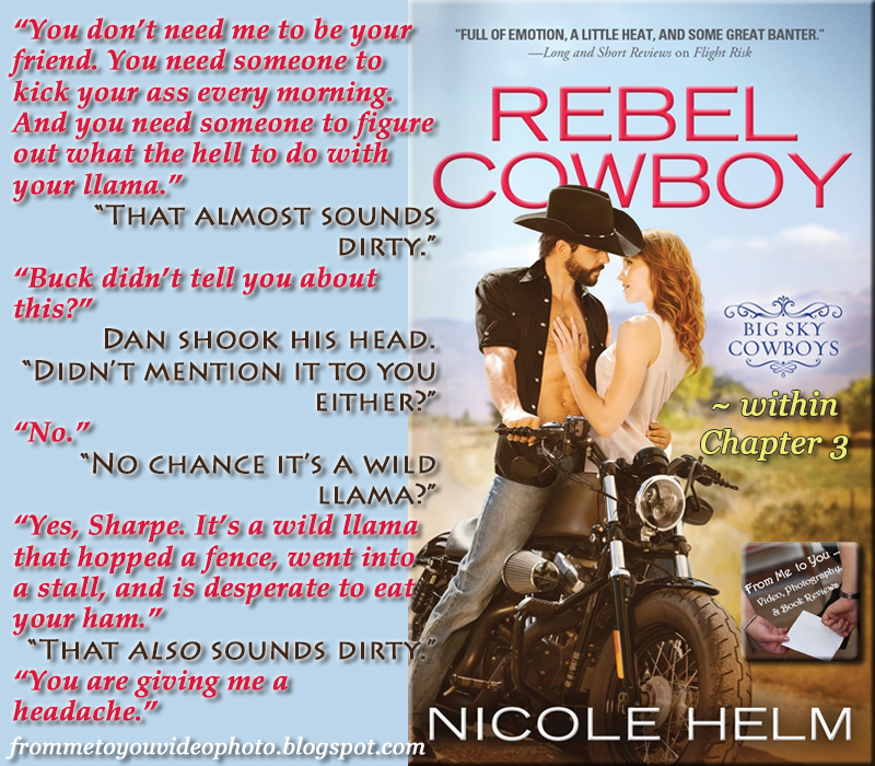 REBEL COWBOY by Nicole Helm -- Read my #bookreview here: https://www.goodreads.com/review/show/1445750547   #teaser #bookteaser #meme #RebelCowboy #NicoleHelm #Sourcebooks #Casablanca #Romance #SourcebooksCasablanca #love #llama #ranch #dirtytalk #romancenovels #contemporary #contemporaryromance #NHL #cowboy #January2016