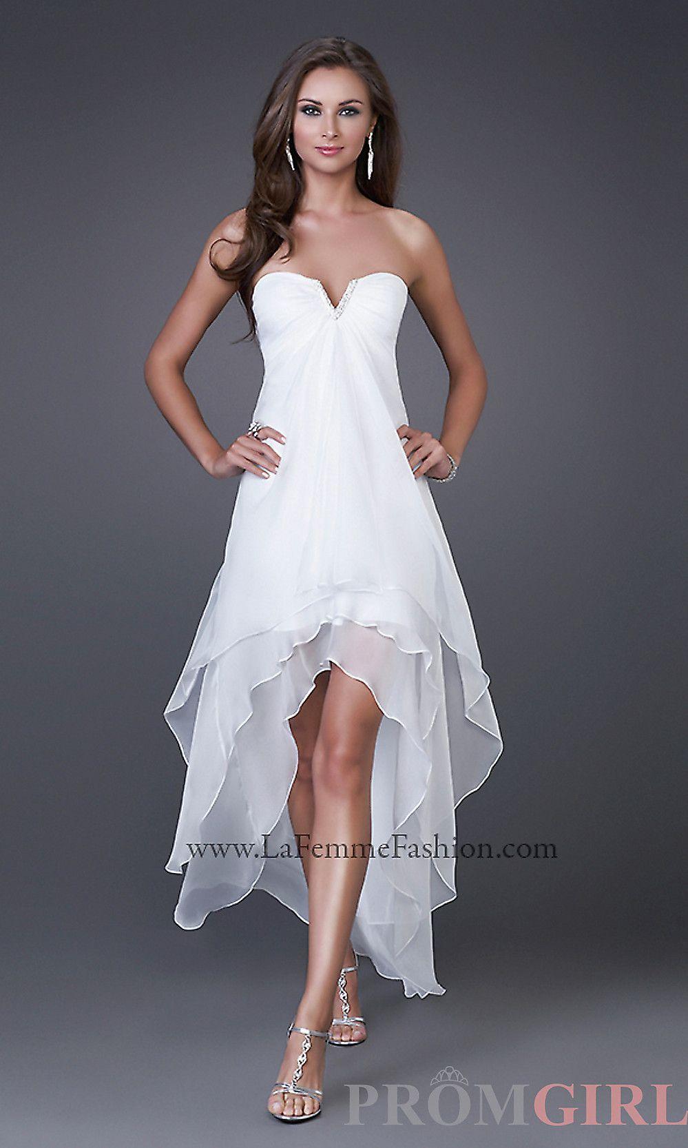 White dresses formal highlow prom dresses la femme dresses for