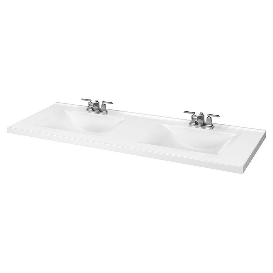 White Cultured Marble Integral Double Sink Bathroom Vanity Top Common 61 In
