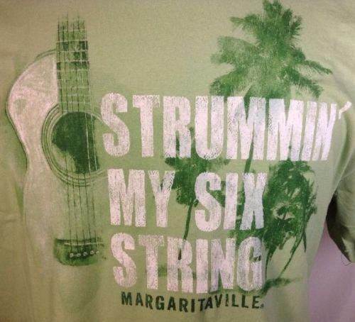 Jimmy Buffett T-Shirt Large Mens Margaritaville Strummin my Six String Lime New
